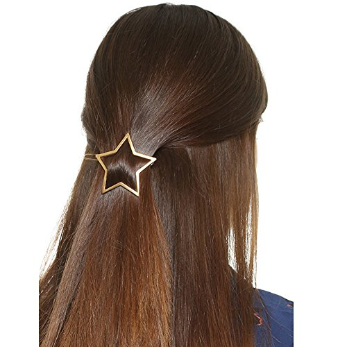 Botrong Women Hollow Five-pointed Star Hairpin Hair Clip Pins (Gold) (Gothic 14k Ring)