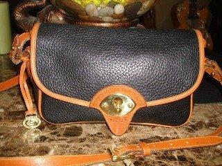 blue and tan handbags
