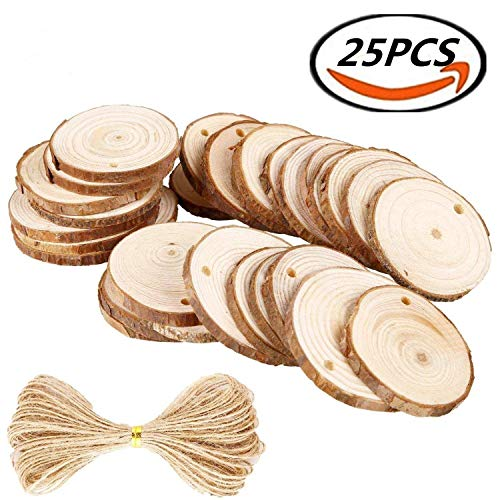 Natural Wood Slices 25Pcs 2.4''-2.8'' Craft Wood kit Unfinished Predrilled with Hole Wooden Circles Great for Arts and Crafts Christmas Ornaments DIY Crafts by HANBEN