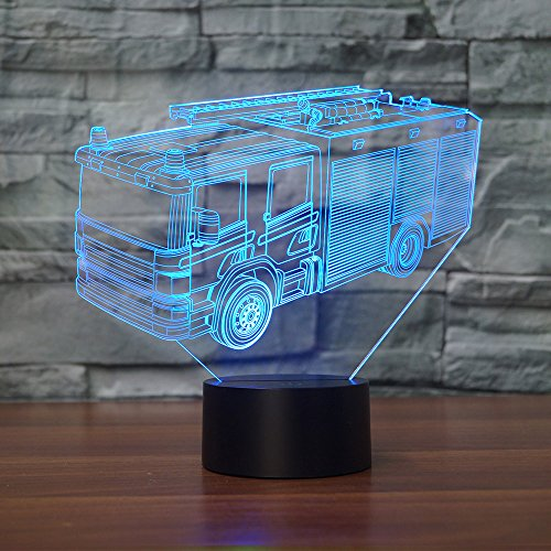 Price comparison product image Fire Fighting Truck 3D Night Light Table Stand Lamp with 7 Color Flashing USB LED for Kids Toy Gift
