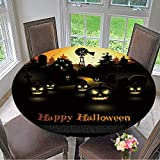 Mikihome Simple Modern Round Table Cloth Haunted Farmhouse in The Woods Halloween Poster for Daily use, Wedding, Restaurant 55''-59'' Round (Elastic Edge)