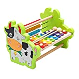 Sunshinetimes Wooden Abacus & Xylophone Toy Set Counting Frames with Colourful Beads Early Developmental Learning Toys for Kids Toddlers (Cow)