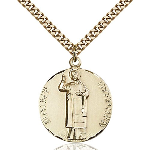 Gold Filled St. Stephen Pendant 1 x 7/8 inches with Heavy Curb Chain by Bonyak Jewelry Saint Medal Collection