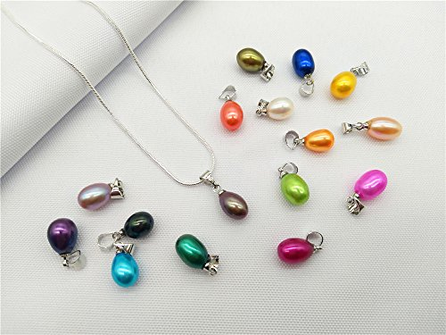(20PCS Drop Pearl Pendants 9-11mm Height Colored Rainbow Freshwater Cultured Oval Pearls)