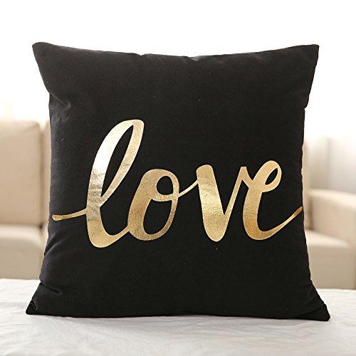 funda de almohada negra Drawihi Funda de almohada sin núcleo patrón de palabra de amor 45 * 45cm