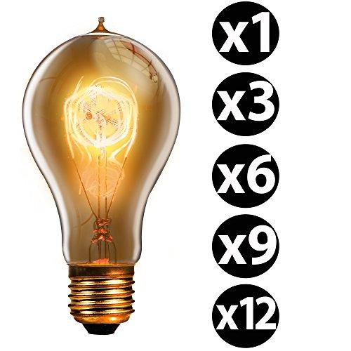 Trellonics Long-Life Premium Edison Light Bulb Lamps 40 W Watt E27 Screw Quad Loop Filament Classic Shaped A21 QL Dimmable 40W Vintage, Retro, Rustic, Industrial Lighting-1 3 6 9 & 12 Packs - Park Model H