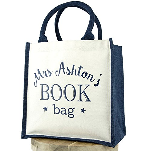 Personalised Gift Uk Text Navy Book Bag Teacher Canvas 4AwBAq8
