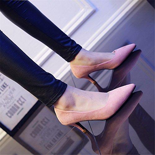 HXVU56546 Durante La Primavera Y El Otoño Nuevos De Tacón Alto De Satén Zapatos De Mujer Fina Con La Punta Del Zapato, Con Zapatos De Mujer ,36, Rosa