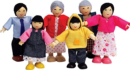 Asian Play Dolls (Hape Asian Wooden Doll House Family Set)