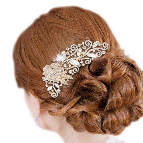 Ever Faith - Rose Or-ton cristal autrichien feuille Fleur Rhombic cheveux peigne Transparent N03618-2