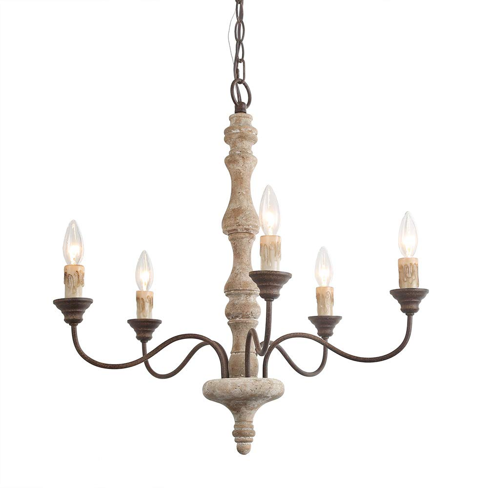 LNC Distressed Handmade Chandeliers, 5-Light Rust-Colored Arms Pendant Light, French Country Style