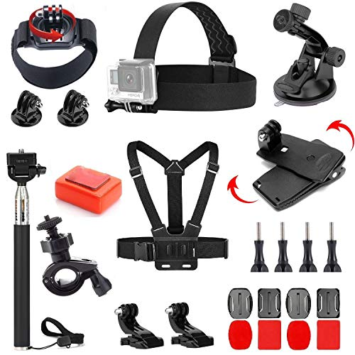 VVHOOY 24 in 1 Accessories Bundle Kit Compatible with Gopro Hero 7/6/5 Session/AKASO EK7000/Brave 4K/V50 Native/DBPOWER/Crosstour/Campark Action Camera Outdoor Accessories