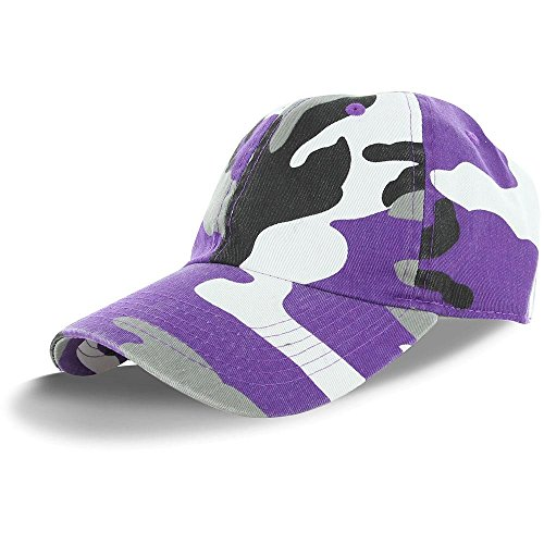 (Plain 100% Cotton Adjustable Baseball Cap -Purple Camo, Adjustable, ,Purple CamoAdjustable)