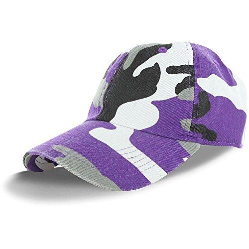 Plain 100% Cotton Adjustable Baseball Cap -Purple Camo, Adjustable, ,Purple CamoAdjustable
