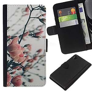 KLONGSHOP // Tirón de la caja Cartera de cuero con ranuras para tarjetas - Árbol floreciente Garden Park - Sony Xperia Z2 D6502 //