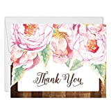Rustic Pink Peony Blooms Thank You Cards with Envelopes ( Pack of 50 ) Blank Folded Thank You Gracias Notecards Surprise Birthday Bride Country Wedding Baby Shower Thanks Notes Excellent Value VT0034