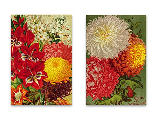 "Magnet Rectangle Garden (Vintage Botanical Garden Fridge Magnet Set - 2""x3"" Magnets featuring Seed Catalog Illustrations of Flowers for Kitchen Art, Office Decor, Gardener Gift for Adults, Kids, Men & Women - Made in USA)"