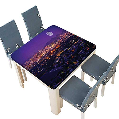PINAFORE Decorative Tablecloth Collection Phoenix Arizona Full Moon Over Phoenix Arizona Downtown Residential Areas Pictu Table Cover Dining Room Party 72.5 x 72.5 INCH (Elastic -
