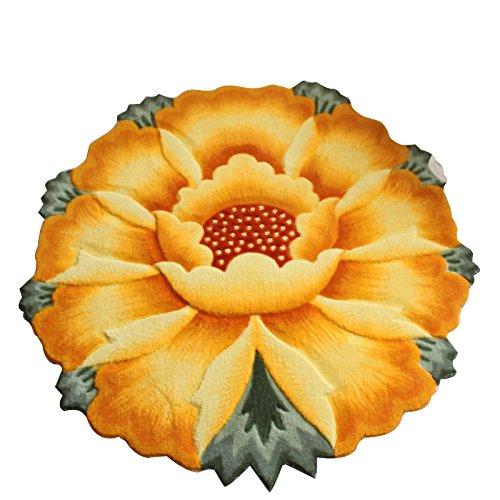 YOUSA Sunflower Round Rug Flower Shaped Bedroom Carpet Anti-slip Mats (35.4'',Yellow)