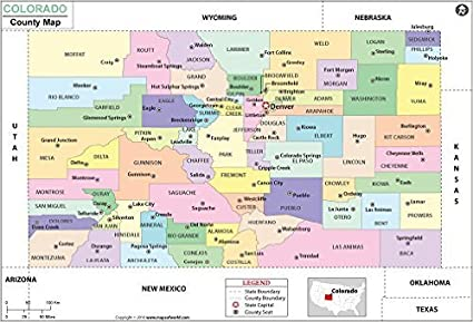 Amazon.com : Colorado County Map - Laminated (36\