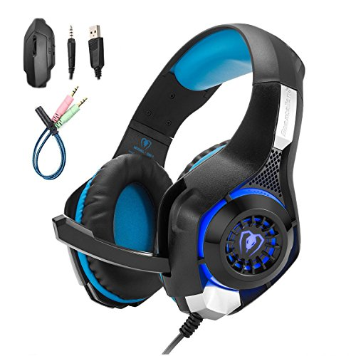 Mengshen Gaming Headset for PC/Laptop/Smartphones/iPad/iPhone/PS4/Xbox One - with Mic, Volume Control, Cool LED Lights and Soft Earpads - GM1 Blue by Mengshen
