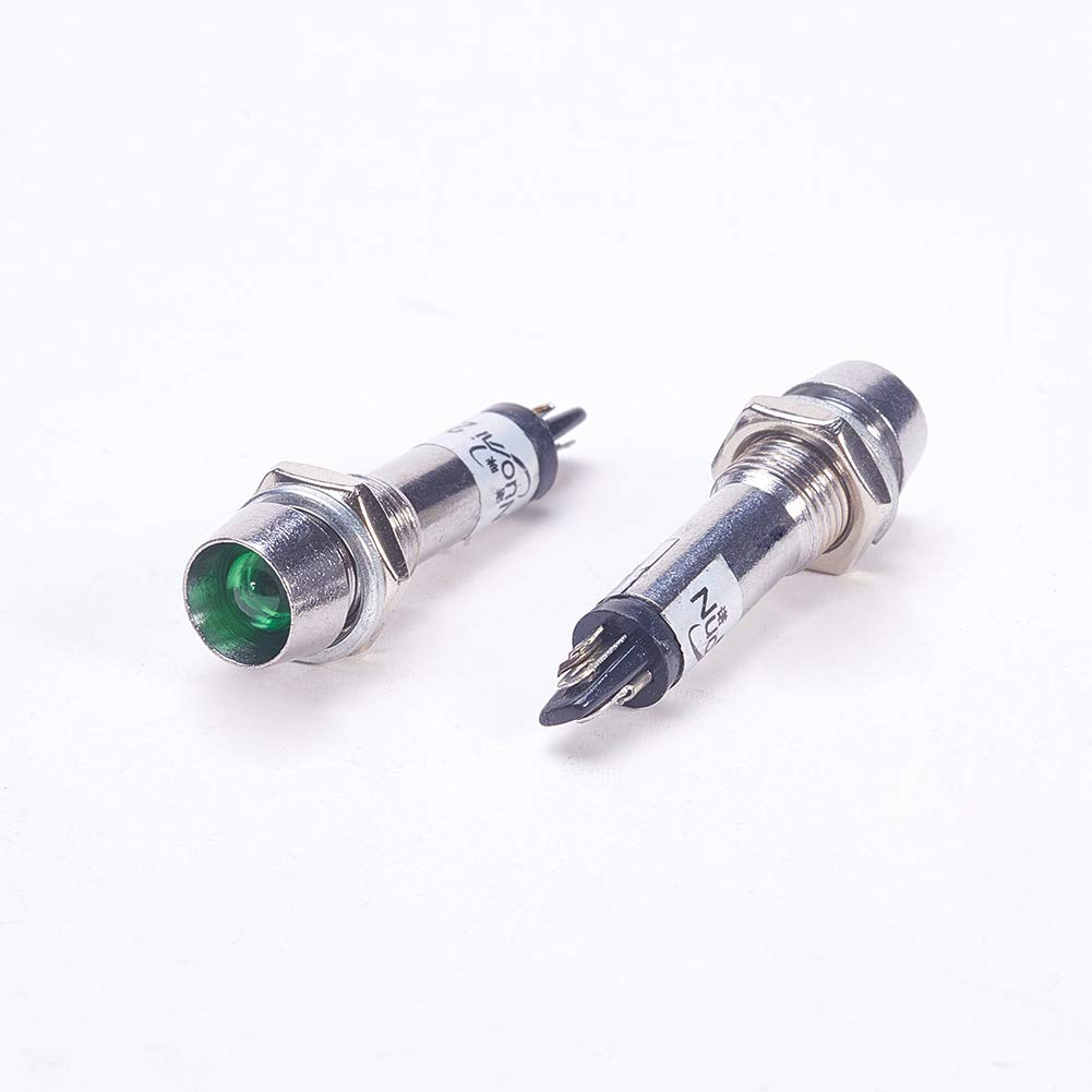 Othmro LED Signal Indicator Green Light Lamp AC 220V Metal Shell Panel Mount 8mm 4Pcs