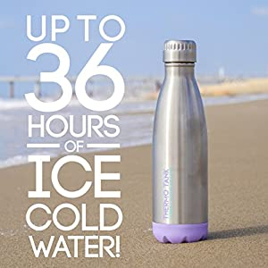 Thermo Tank Insulated Stainless Steel Water Bottle - Ice Cold 36 Hours! Vacuum + Copper Technology - 17 Ounce (Lavender + Steel, 17oz)