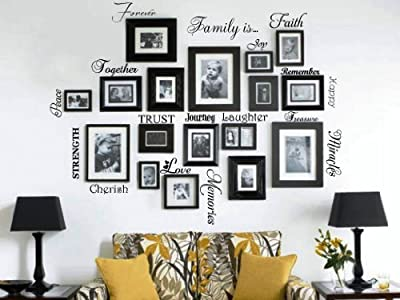 Picture Collage Words Family Wall Decal Set of 20 Words Quote Vinyl Art Sticker