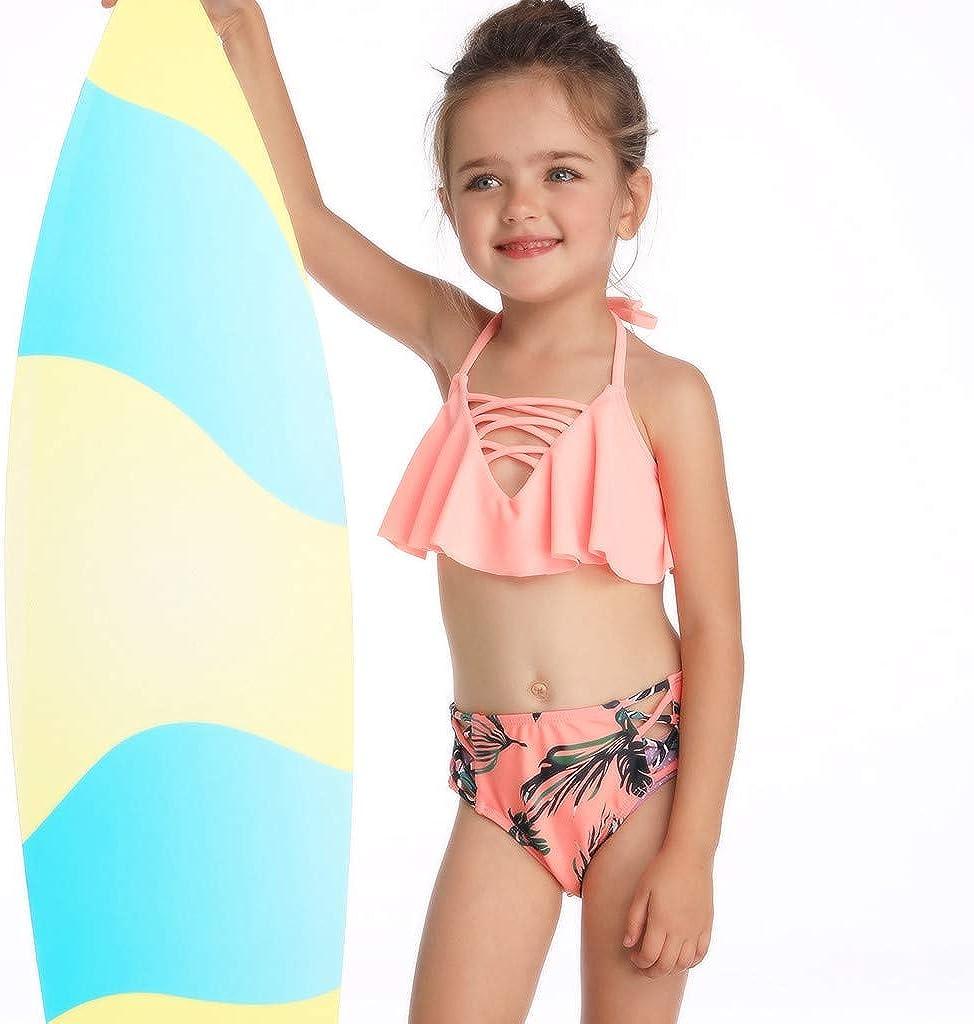 Renlinwell Baby Girls Swimsuit Two Piece Swimwear Ruffle Sailboat Printed Beach Bathing Suit