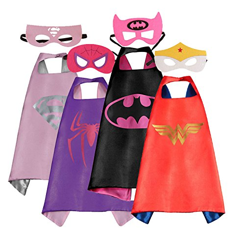 Easy Girl Halloween Costumes (Mizzuco Cartoon Capes With Felt Masks Halloween Birthday Costume For Girls-4 Pcs)