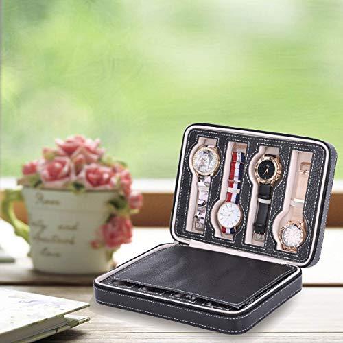 Autoark 8 Slot Leather Portable Travel Watch Case Storage Organizer,Black,AW-034 by Autoark (Image #2)