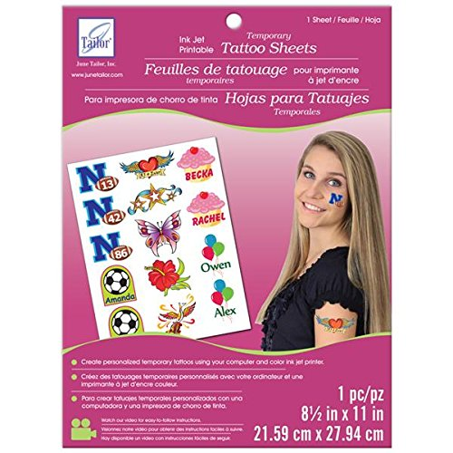 June Tailor JT-481 Inkjet Printable Temporary Tattoo Sheet, 8.5 by 11-Inch, -