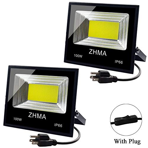 - ZHMA 2 Pack 100W LED Flood Light Outdoor with Plug, 9000lm Super Bright Work Lights, 6500K Security White Light, IP65 Waterproof Floodlight Landscape Wall Lamp for Garage, Yard, Garden, Court Lighting