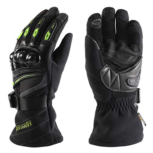 ANSOPO Motorcycle Gloves Cycling Gloves Winter Waterproof Touchscreen Winter Warm Protective Gloves for Man and Women (Green, M)