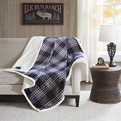 (Woolrich Leeds Oversized Plaid Print Faux Mink to Berber Sherpa Warm Cozy Washable Electric Blanket Heated Throw with Auto Shutoff, 60