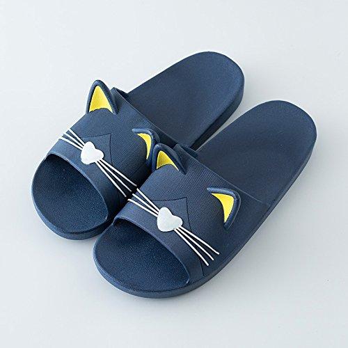 FankouLa cool verano zapatillas parejas home zapatillas, elegante y gatos lindos y anti-deslizamiento de tierra blanda resistencia a las zapatillas de baño sucio baño ,43-44, Dark Blue cat.