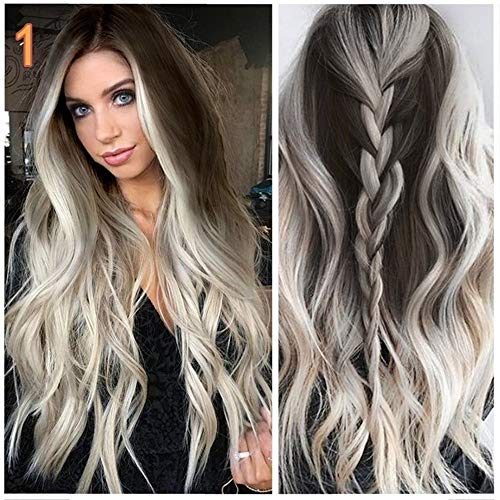 Womens Synthetic Wig Grey Long Wavy Full Wigs Party Hair Wigs by Little Story ()