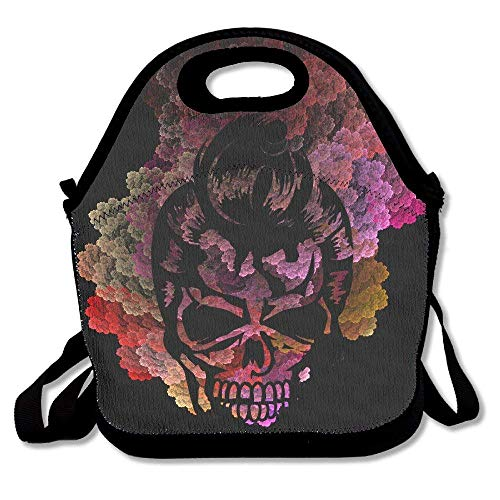 A Skull With A 50s Haircut Lunch Bag Tote Handbag Lunchbox Food Container Tote Cooler Warm Pouch For School Work Office]()