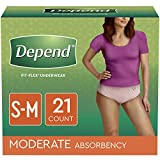 Depend FIT-FLEX Incontinence Underwear for Women, Disposable, Moderate Absorbency, S/M, Blush, 21 Count