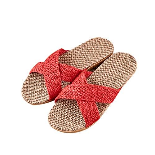 Lin Coton Quatre Chaussures Automne de Pantoufles TELLW Saisons Lin Femmes Rouges Couples ¨¦t¨¦ 1 Linge Odeur Anti de Sueur Sandales Maison d'aspiration en Hiver Printemps Cool int¨¦Rieur d0qqwT7gn