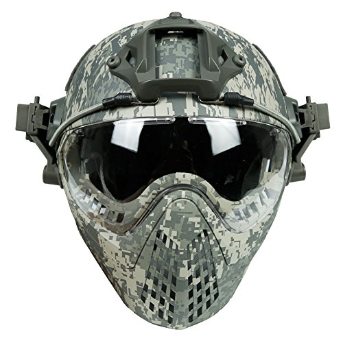 - LEJUNJIE Tactical Fast Baotou Helmet Outdoor Riding Mask One Full Face Airsoft Mask Camouflage Edition Ear Protection Eye Goggles For Airsoft Paintball CS Other Outdoor Activities (Dark green)