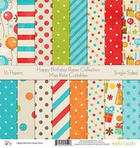 (Pattern Paper Pack - Happy Birthday - Scrapbook Premium Specialty Paper Single-Sided 12