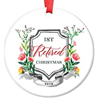 "Retirement 2019 Christmas Tree Ornament 1st First Holiday Season Retiring From Job Work Ceramic Collectible Keepsake Man Woman Retired Party Present 3"" Flat Porcelain with Red Ribbon & Free Gift Box"
