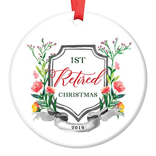 Retirement 2019 Christmas Tree Ornament 1st First Holiday Season Retiring From Job Work Ceramic Collectible Keepsake Man Woman Retired Party Present 3