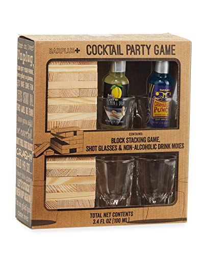 BarPlus Drinking Game with Block Tower, Shot Glasses, and Drink Mixers