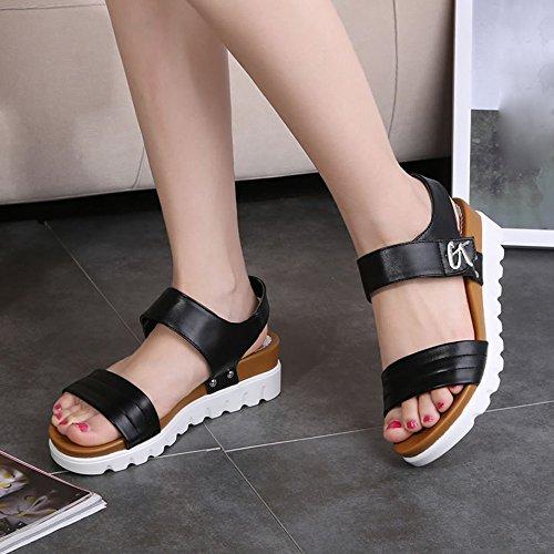 SKY Comfortable to wear it !!!Sandalias planas de las mujeres del verano corteza gruesa 5cm Heel high Negro