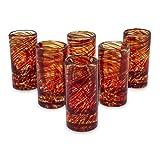 NOVICA Hand Blown Red Swirl Recycled Glass Shot Glasses, 2 oz 'Ripe Ruby' (set of 6)