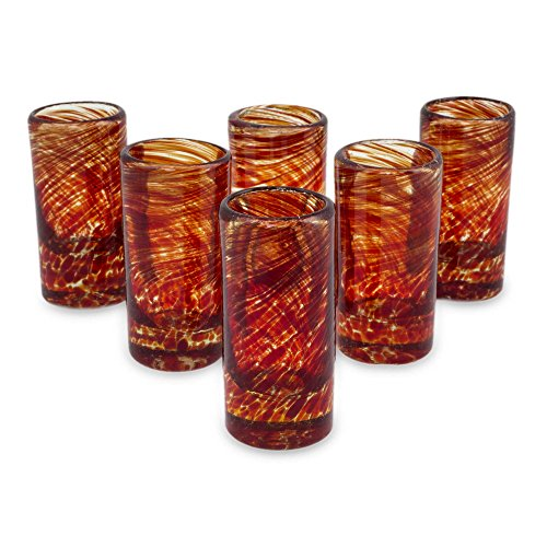 NOVICA Hand Blown Red Recycled Glass Shot Glasses, 2 oz 'Ripe Ruby' (set of 6) (Glass Red Ruby)
