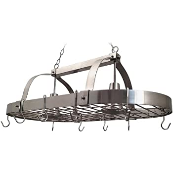 Amazon Com Hanging Pot Rack With Lights Kitchen Amp Dining
