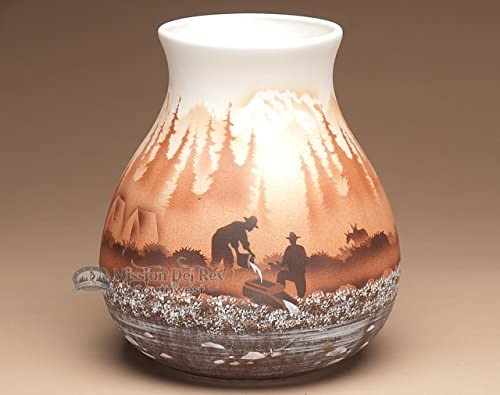 Mission Del Rey Native American Navajo Pottery Vase 9.25